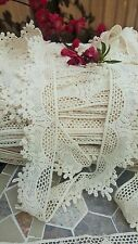 1m Vintage Cotton crochet lace trim CREAM/IVORY Ribbon wedding/cake decoration