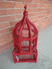 """ORIENTAL STYLE Red PAINTED WOODEN BIRD CAGE/HOOK FOR HANGING 22"""" high"""