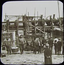 Glass Magic Lantern Slide FISHERMEN AT FOLKESTONE C1890 PHOTO FISHING BOAT