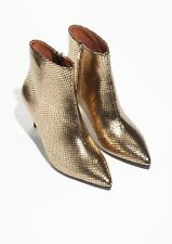 & OTHER STORIES REPTILE LEATHER ANKLE  BOOTS – UK SIZE 3 – EU 36 – GOLD – NEW