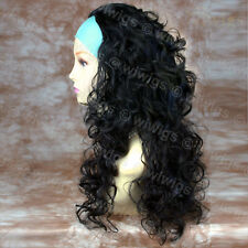 Black Curly Long Ladies 3/4 Wig Fall Hairpiece Hair Extension from WIWIGS UK