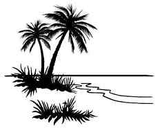 "Black Tropical Beach Palm Tree 4"" Large Fused Glass Decal 15CC543"