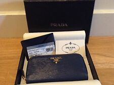 NWT PRADA 6 METAL TAG KEY FOB LEATHER ZIP AROUND WALLET IN BLUETTE MADE IN ITALY
