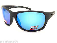 DIRTY DOG polarised PHIN wrap Sunglasses Satin Black / Multi Blue Mirror 53448