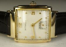 Vintage Men's Wittnauer 10K Solid Gold 15J 10E AXA Swiss Watch Black Leather