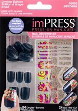24pk Design Kit IMPRESS PRE-GLUED/ACRYLIC STICK-ON NAILS/DRAG QUEEN (BLUE -GRAY)