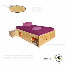 Lit double multi-fonction adulte 2 places 140 x 190 multi-rangement naturel p...