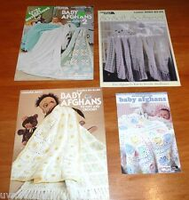 lot of 4 Baby Afghan Leaflets / Pattern Booklets knit & crochet