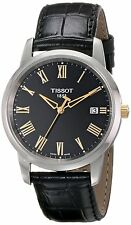 Tissot Men's T0334102605301 T-Classic Dream Black Dial  Leather Strap Watch