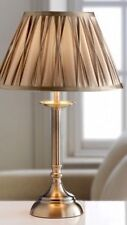 BNWT Vintage Antique Brass Style Gold Satin Pleat Reed Table Side Lamp NEW