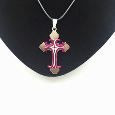 Men's Fashion Jewelry Cross Purple Pendant Black Leather Necklace Gift NEW #4