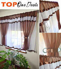 Amazing Voile Net Curtain Ready Made Bedroom Living Dining Room Red Brown Purple