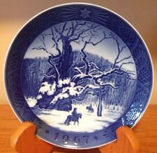 Vintage Christmas Plate 1967 The Royal Oak Kai Lange Blue Royal Copenhagen