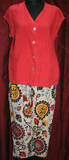 "!!REDUCED!! OSKA linen tunic SIZE 4 TOP Coral Red 44"" bust CAP SLEEVE JACKET"