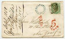"""Irlanda Raro 1858 Tapa A U.s.a. Con scarva UDC y 1856 1s Verde """" 310"""" Cancelar"""