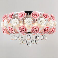 EURO Idyllic Style Flower Crystal Ceiling Fixture Lamp Chandelier Lighting Light