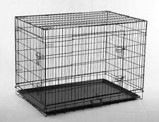 Black 24 #034; Pet Folding Suitcase 2 Doors Dog Cat Cage Kennel Pen w ABS Tray