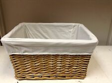 Woven Wicker storage Organizer Toy Laundry Stained Willow Basket White Liner