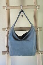 MICHAEL KORS ML SKY BLUE SUEDE LEATHER HOBO / TOTE BAG w WHITE EYELETS
