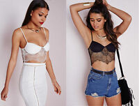 Missguided Ladies Eyelash Lace Bustier Bralet Padded Cups Bandeau Party Crop Top