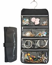 Misslo 8 Zippered Pockets Travel Jewelry Roll up Organizer with Rotatable Hanger