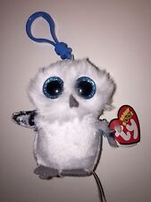TY SPELLS THE WHITE OWL BEANIE BOOS KEY CLIP, NEW w/TAG-CUTE- ADORABLE