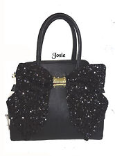 BETSEY JOHNSON  OH BOW  LARGE SEQUIN BOW CROSS BODY SATCHEL BLACK