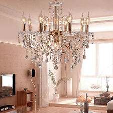 NModern Candle Ceiling 9 Lights Hanging Crystal Pendant Chandelier Lamp Lighting