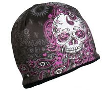 Ladies SUGAR SKULL Beanie Knit Cap Motorcycle Womens Goth Paisley Hat Biker Pink