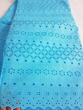 NEW 100% Turquoise Cotton Anglaise Punch Hole Fashion Fabric Dry Lace Dress