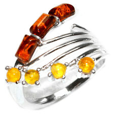 3.6g Authentic Baltic Amber 925 Sterling Silver Ring Jewelry s.10 A7466S10