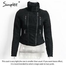 Simplee Women's Faux Suede Leather Jacket Autumn Winter Zipper Up Biker Coat