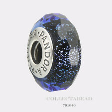 Authentic Pandora Silver Murano Blue Fascinating Iridescence Bead 791646