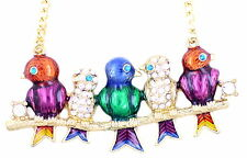 Art Deco style gold tone enamel crystal birds chorus necklace