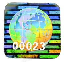 81x 15mm GLOBE Hologram Stickers NUMBERED, Square Labels, Warranty Original