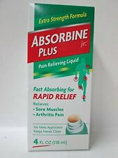 3 Pack Absorbine Jr. Plus Extra Strength Pain Relieving Liquid 4 oz Each
