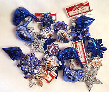 Blue Christmas Ornaments Lot Silver Snowflakes Bluebirds Stars Plastic 24 pc