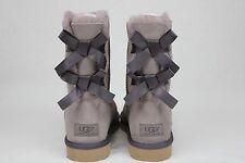 UGG AUSTRALIA BAILEY BOW SHEEPSKIN SUEDE STORMY GREY SIZE 7 US NEW
