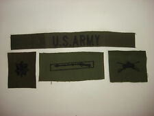 U.S. ARMY Subdued Pocket Tape + 3 Subdued Collar Devices Patches *Unworn*