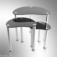 Nest of 3 Coffee Table Side End Table Black Glass Set Modern Furniture UK local#