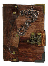 Chinese Dragon Pendant Brown Leather Journal , Diary , Sketchbook , Lo