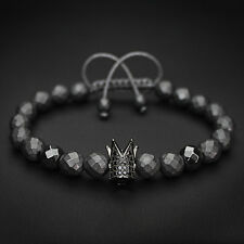 Mens Womens Black Zircon Crown Gemstone Charm Macrame Bracelet King and Queen