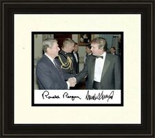 President Ronald Reagan meets Donald Trump Autograph 8 x 10 Photo Framed