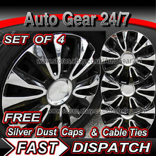 "15"" Black Chrome Car Wheel Trims Hub Caps Covers + Free"