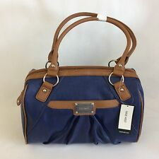 Nine West Clockwork Medium Satchel Handbag Navy Cognac