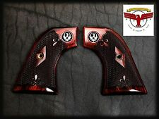 """RUGER OXBLOOD GRIPS ~ BLACKHAWK, """"OLD"""" VAQUERO, SINGLE SIX + CHECKERING + MED"""