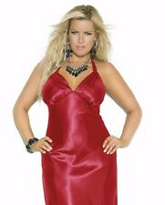 Women Plus Long Nightgown 1X Red Charmeuse Satin Halter Lingerie Nightie Sexy
