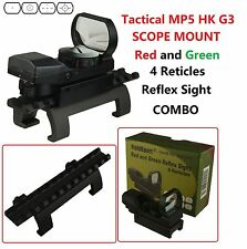 Red and Green Reflex Sight 4 Reticles With Tactical MP5 HK G3 Scope Mount Combo