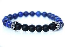 Kronen / Crone Zen aus Lapis Lazuli u matten Onyx Armband Yoga Chakra Bracelet