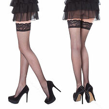Sexy Ladies Fishnet Hold Up Stockings With Lace Top - 15 Various Colours